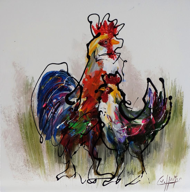 Schilderij kippen 50x50