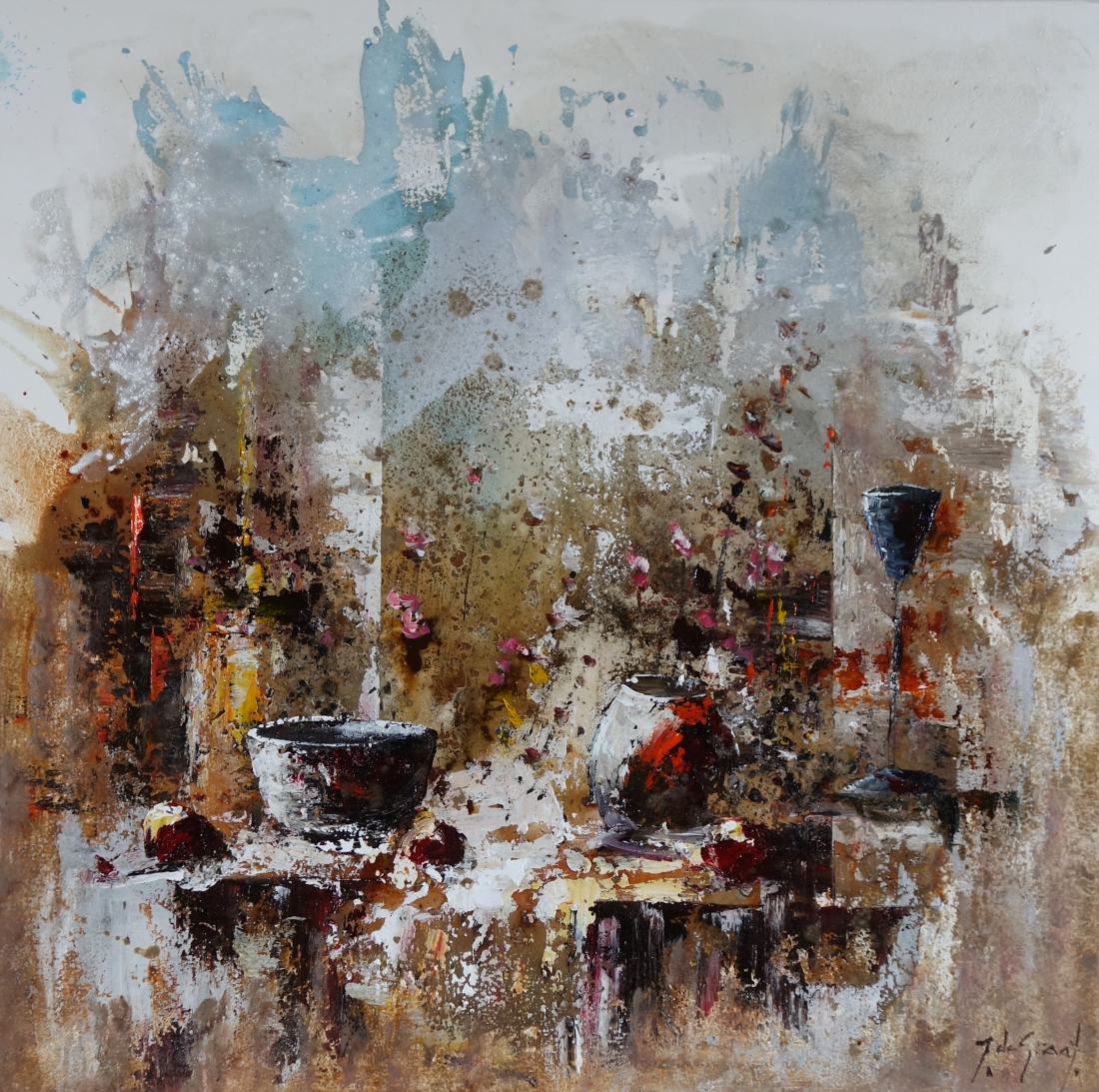 Schilderij stilleven 100x100