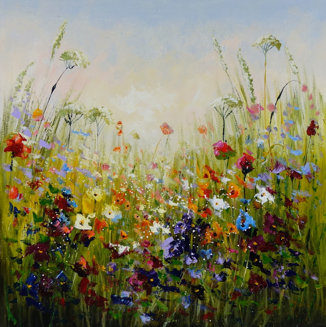 Schilderij bloemenveld 90x90