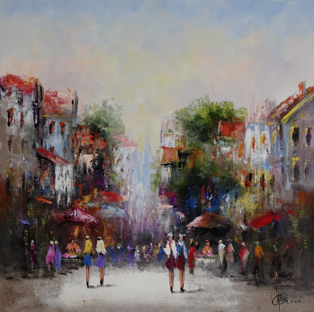 Schilderij stadsgezicht 80x80