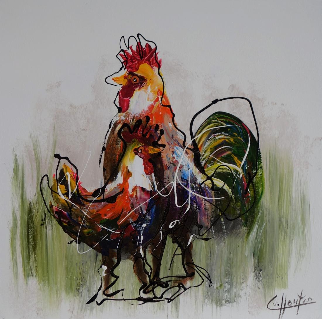 Schilderij kippen 60x60