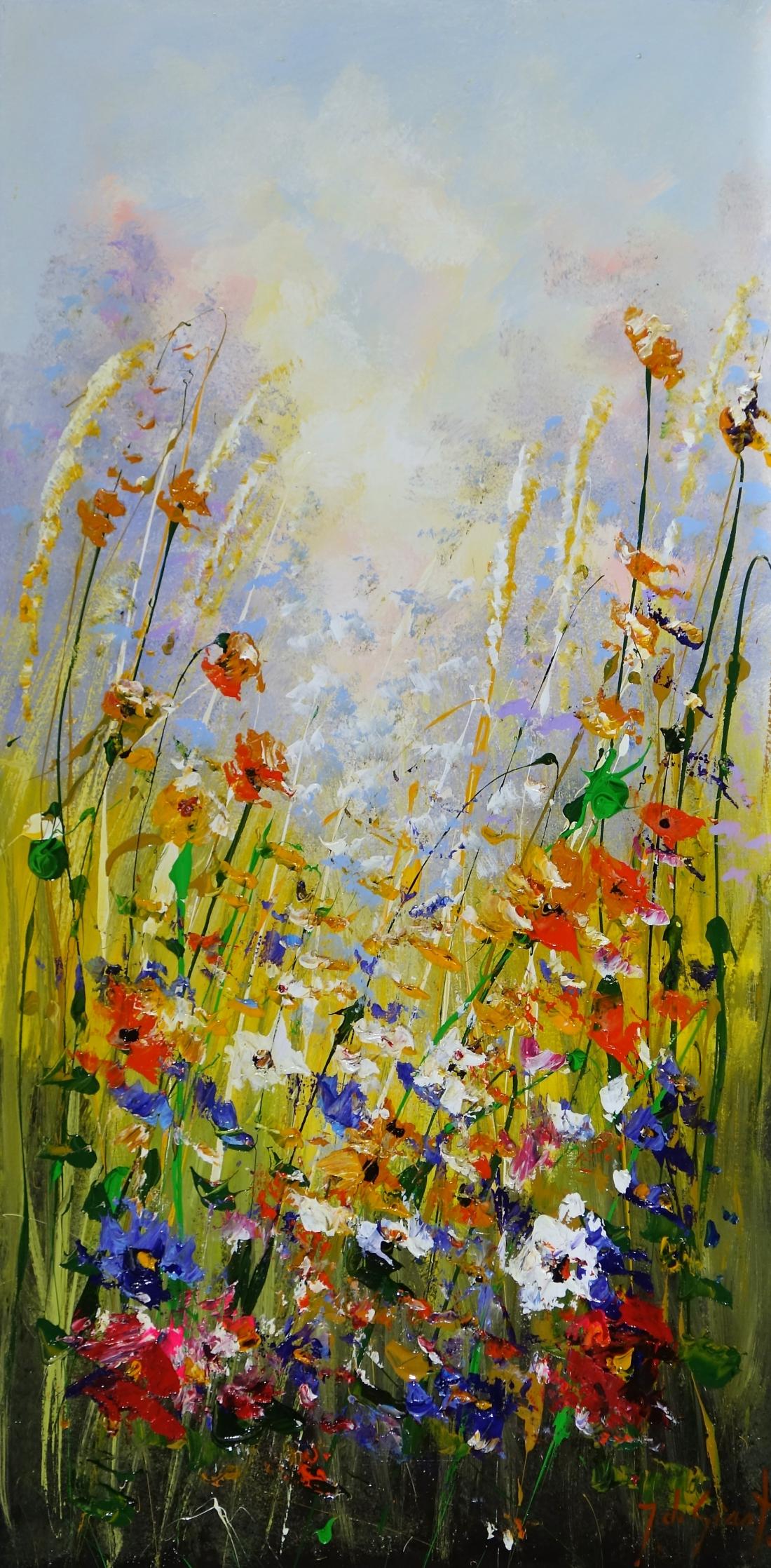 Schilderij bloemen 50x100