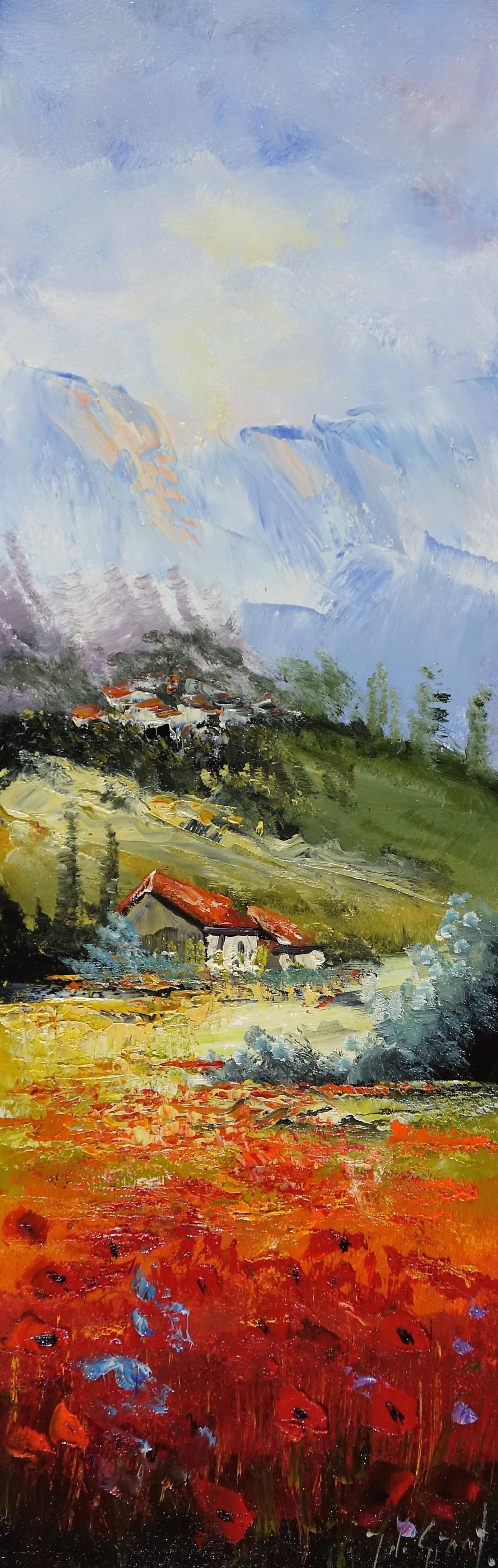 Schilderij landschap 30x90