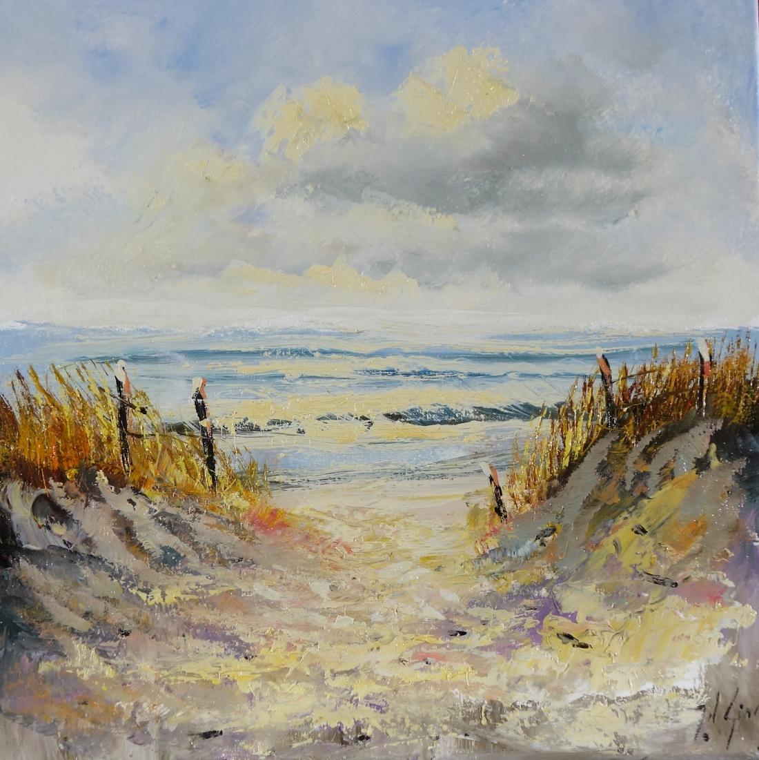 Schilderij stand en duinen 50x50