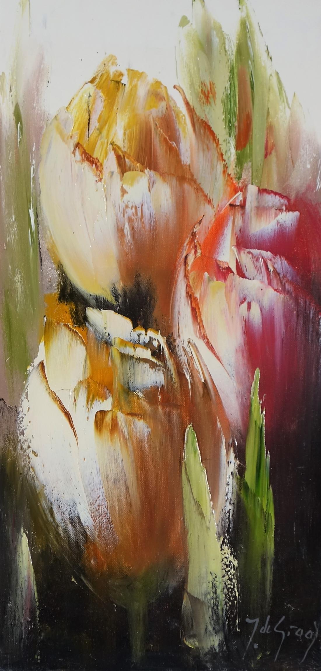 Schilderij tulpen 30x60