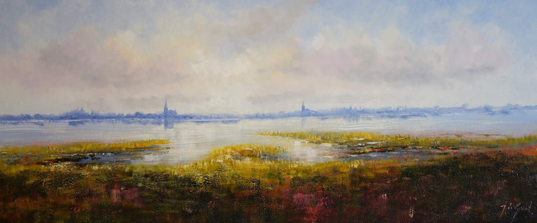 Schilderij landschap 70x160