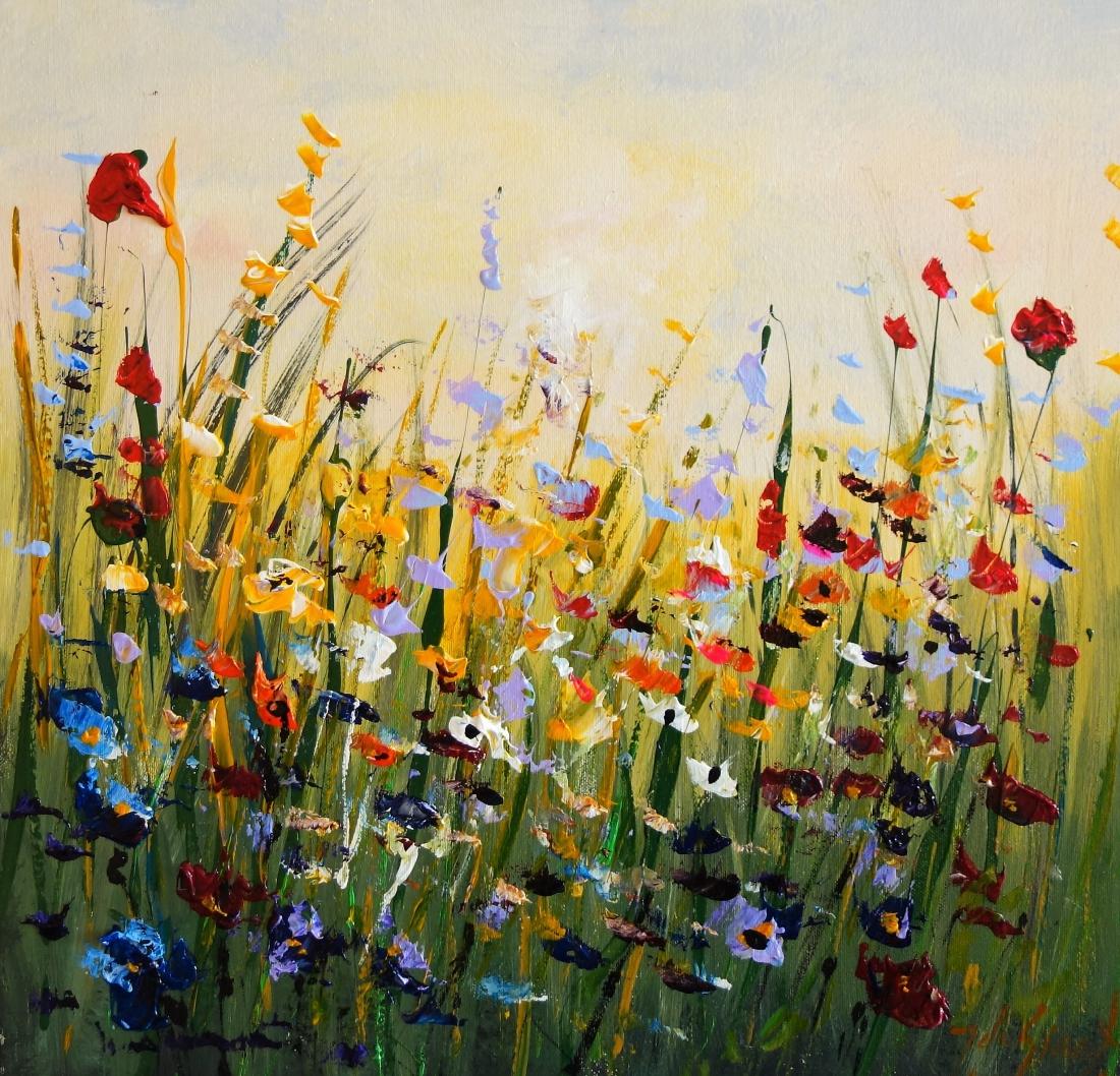Schilderij bloemenveld 50x50