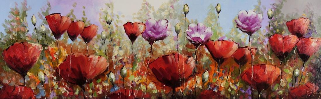 Schilderij bloemenveld 60x180