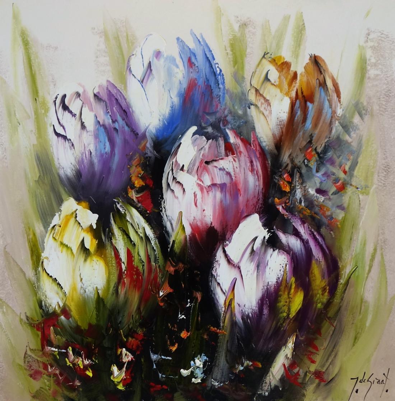 Schilderij tulpen 70x70