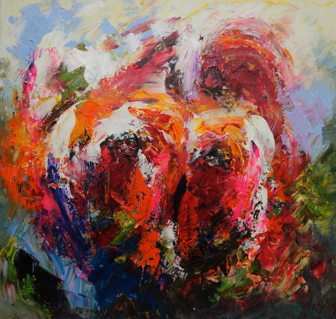 Schilderij abstracte bloemen 90x90