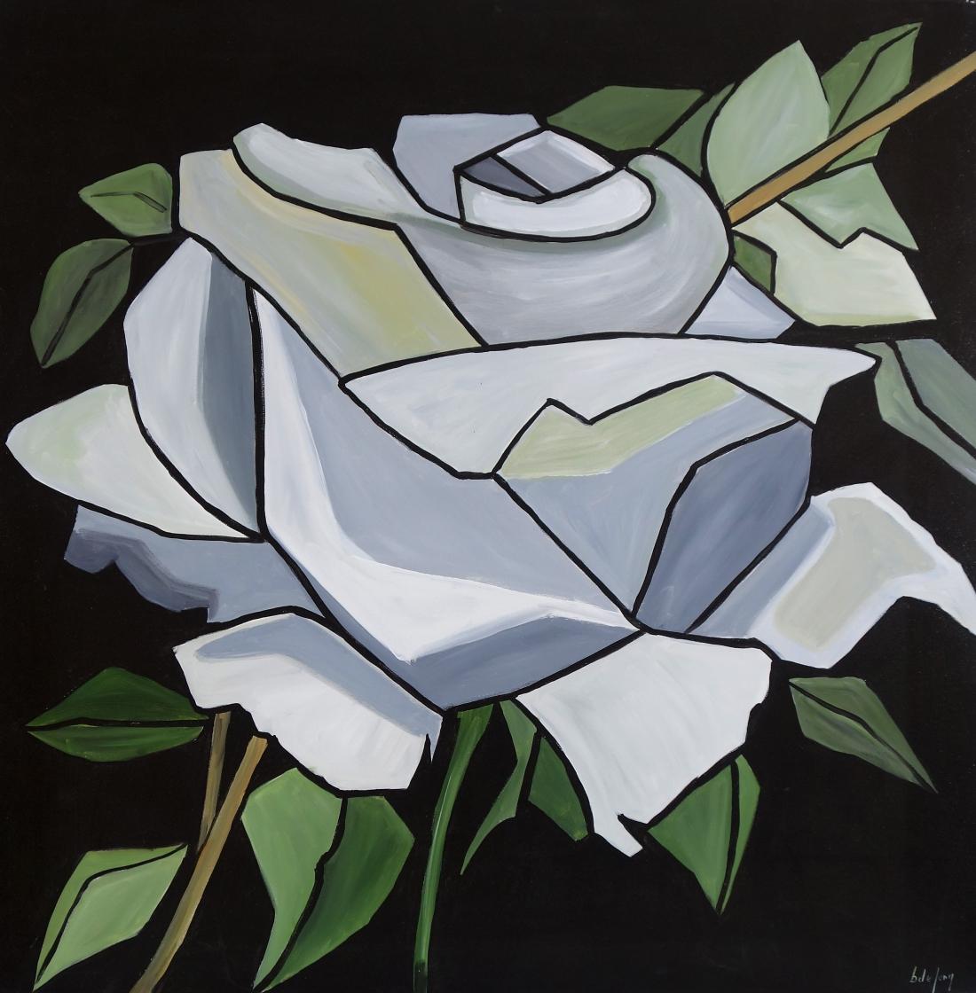 Schilderij moderne bloem 100x100