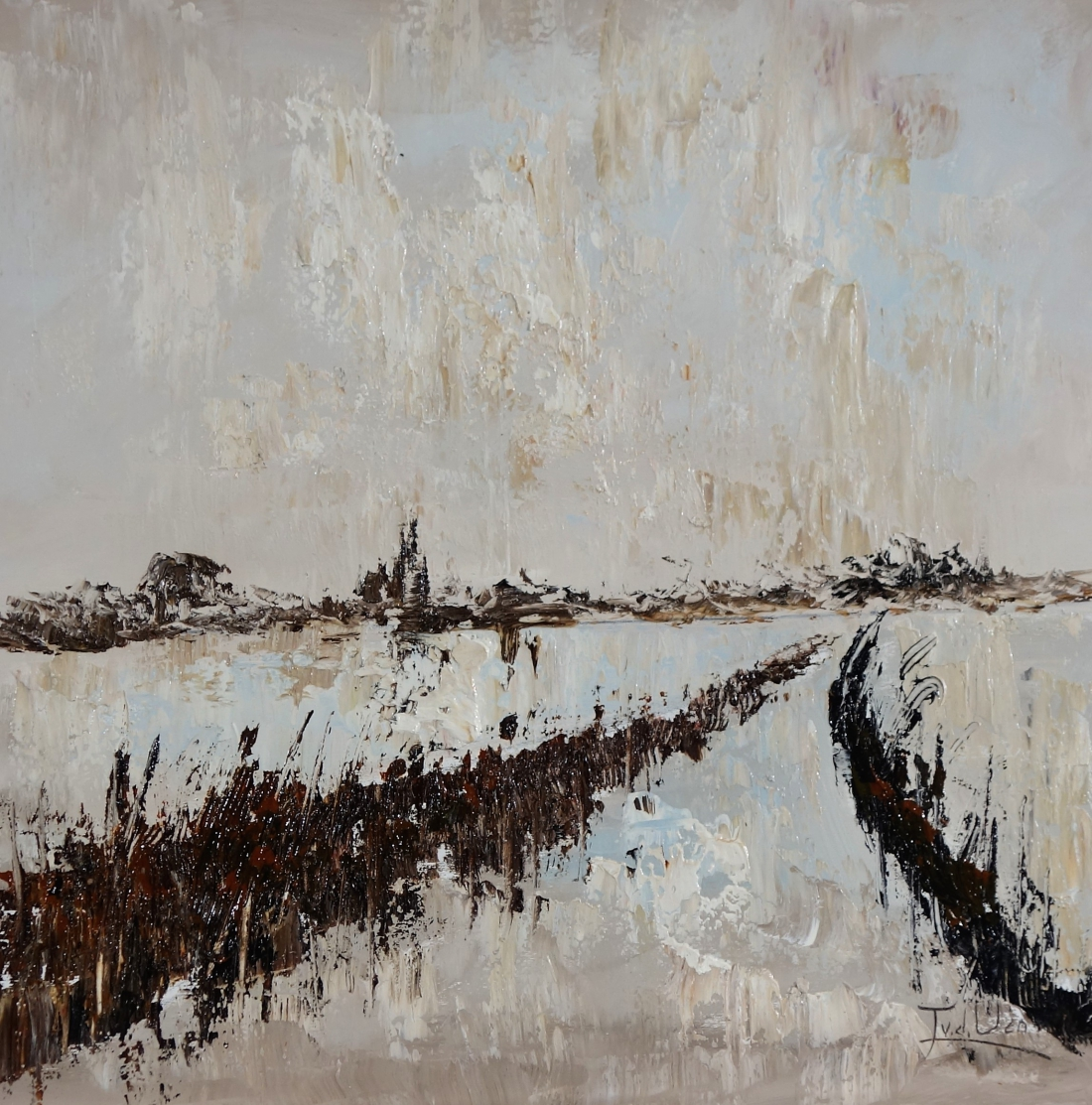 schilderij abstract landschap 70x70