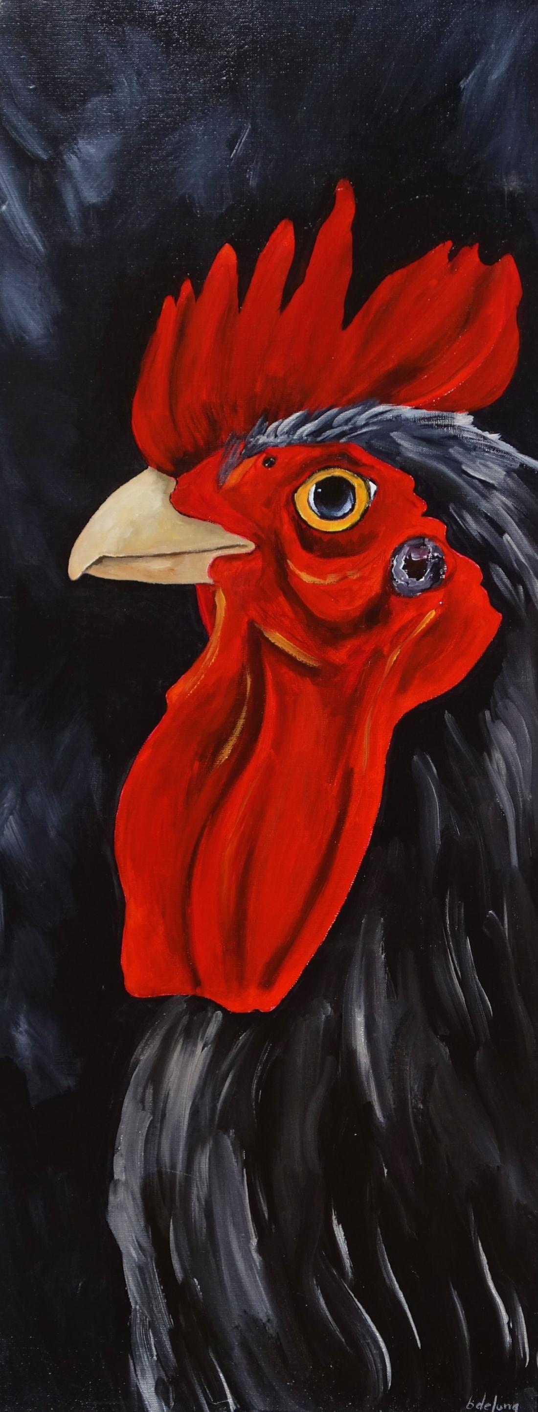 Schilderij haan 40x100