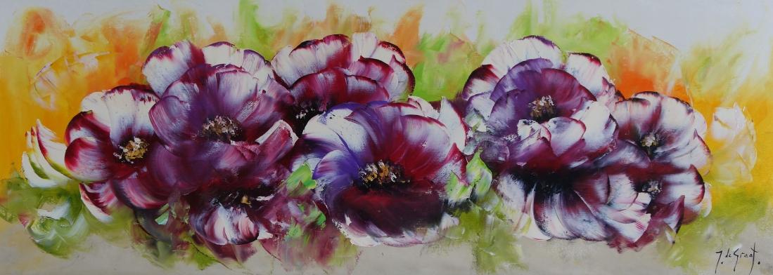 Schilderij bloemen 60x165