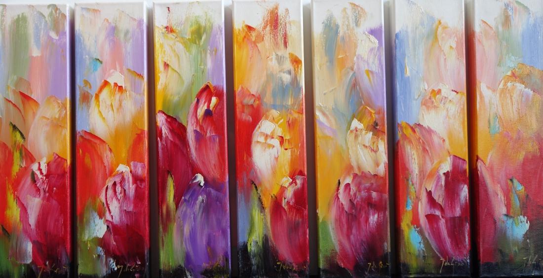 Schilderij bloemen meerluik 60x116