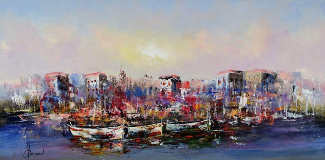 Schilderij haven 60x120