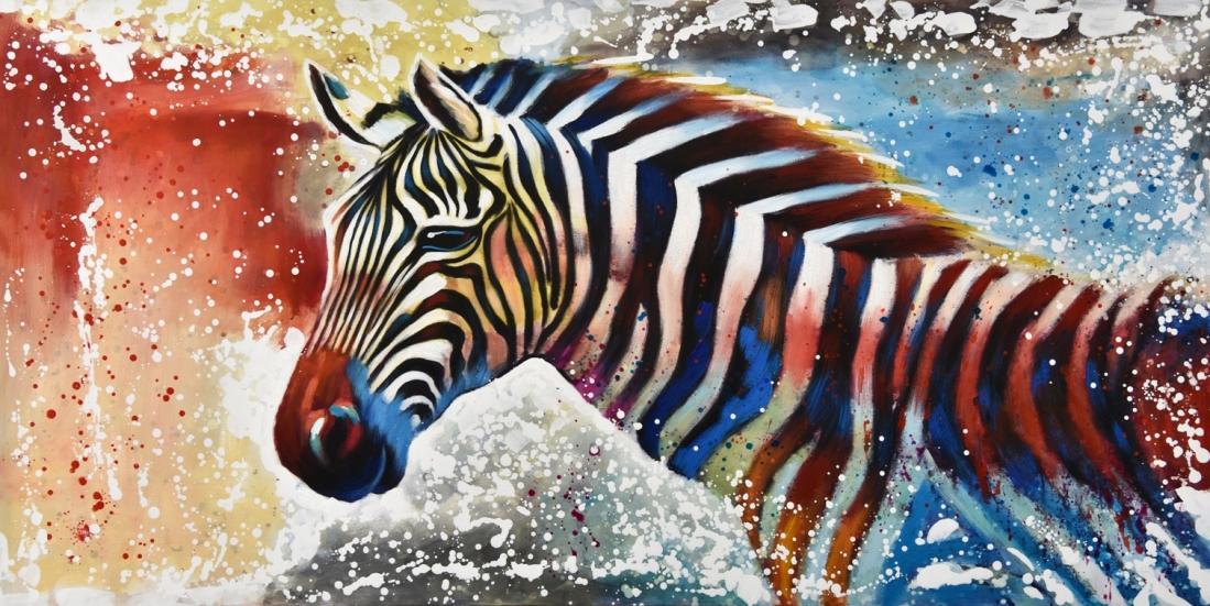 Schilderij zebra 100x200