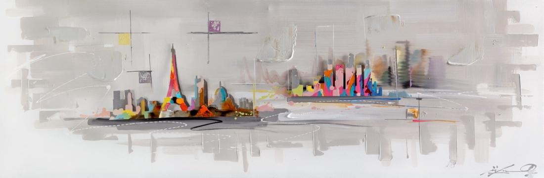 schilderij skyline 50x150