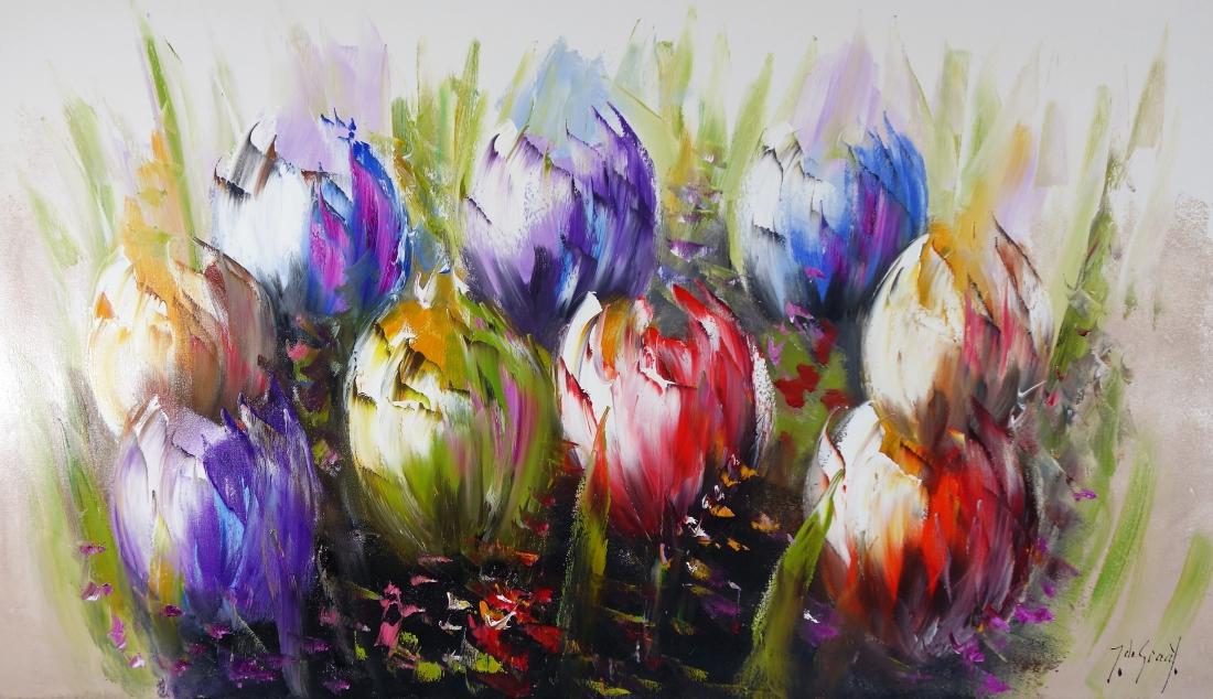 Schilderij tulpen 80x140