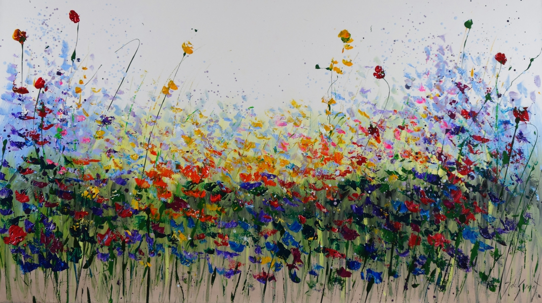 Schilderij bloemenveld 80x140