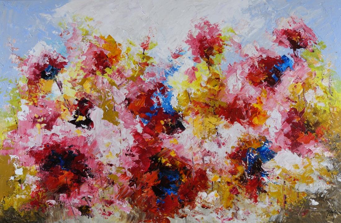 Schilderij bloemen 100x150