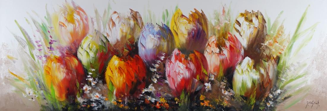 Schilderij tulpen 70x200