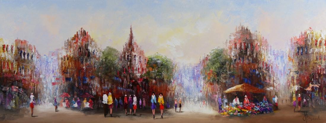Schilderij stadsgezicht 70x180