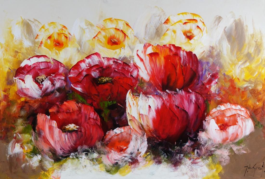 Schilderij bloemen 80x120
