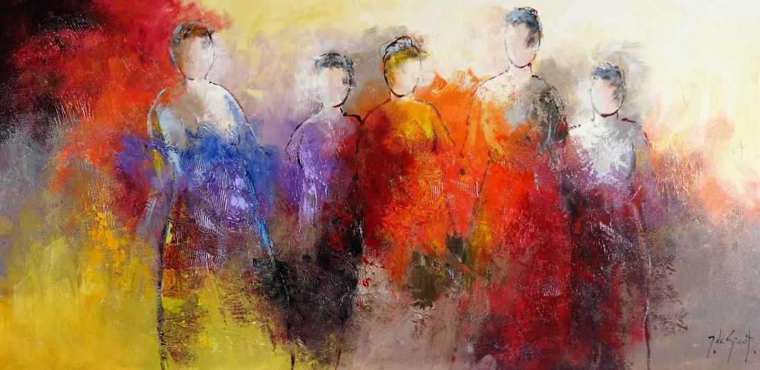 Schilderij personen 70x140