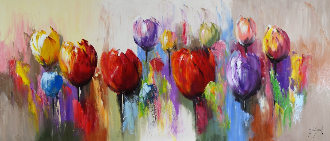 Schilderij zomerse tulpen 70x160