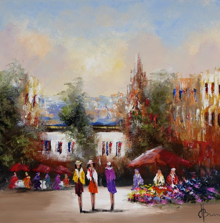 Schilderij stadsgezicht 70x70