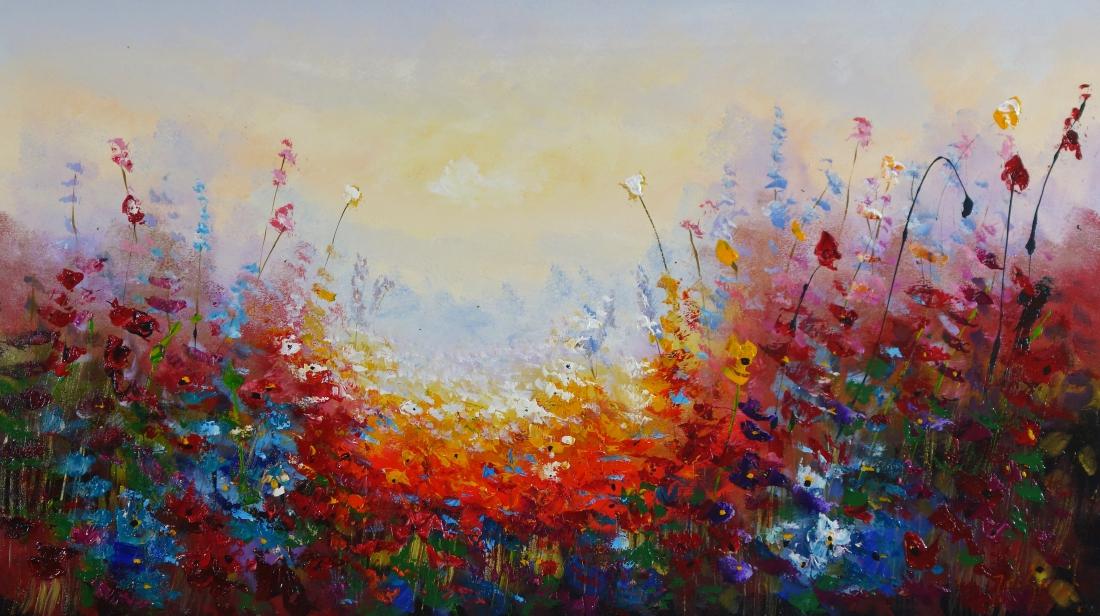 Schilderij kleurrijk bloemenveld 80x140