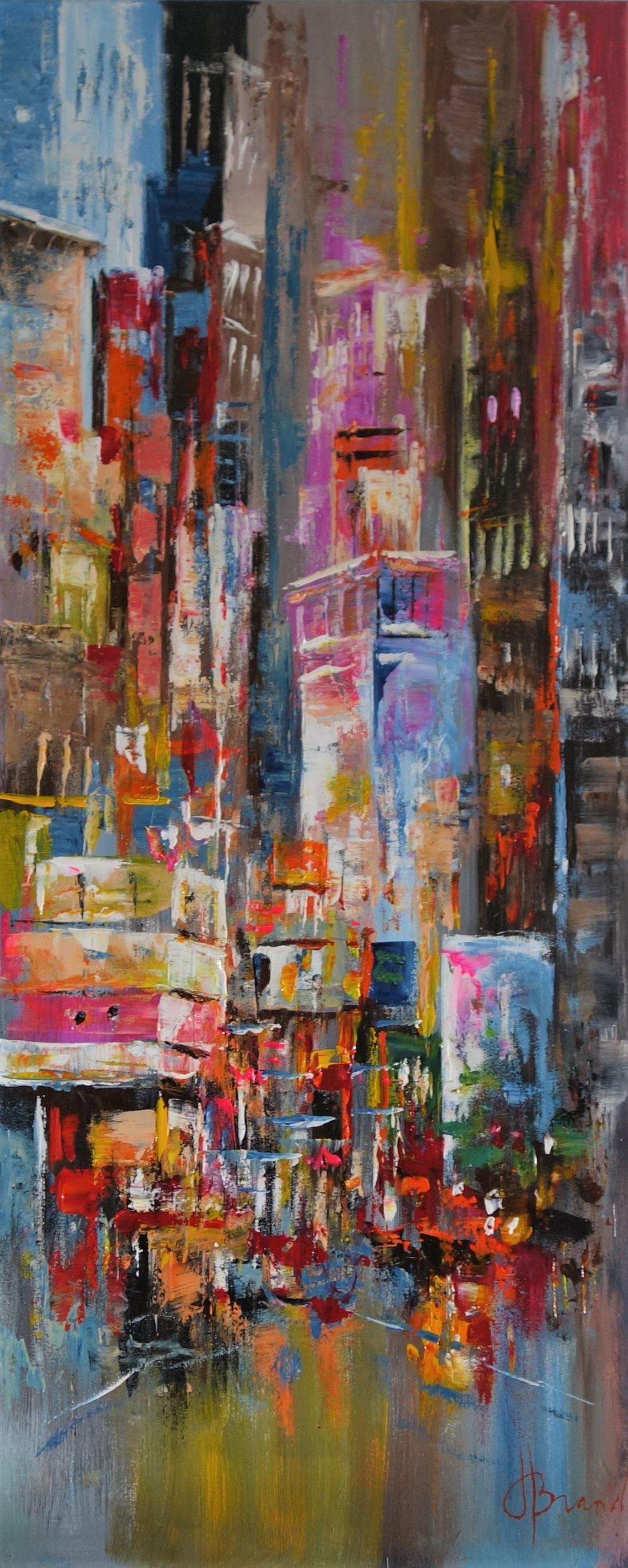 Schilderij stadsgezicht 50x120