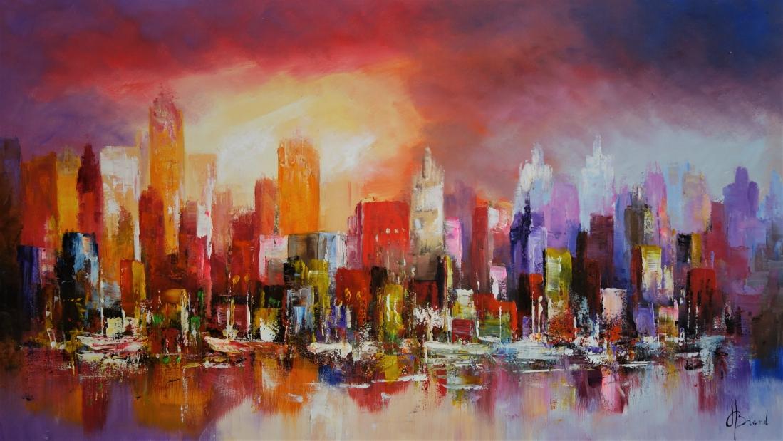 Schilderij modern stadsgezicht 80x140