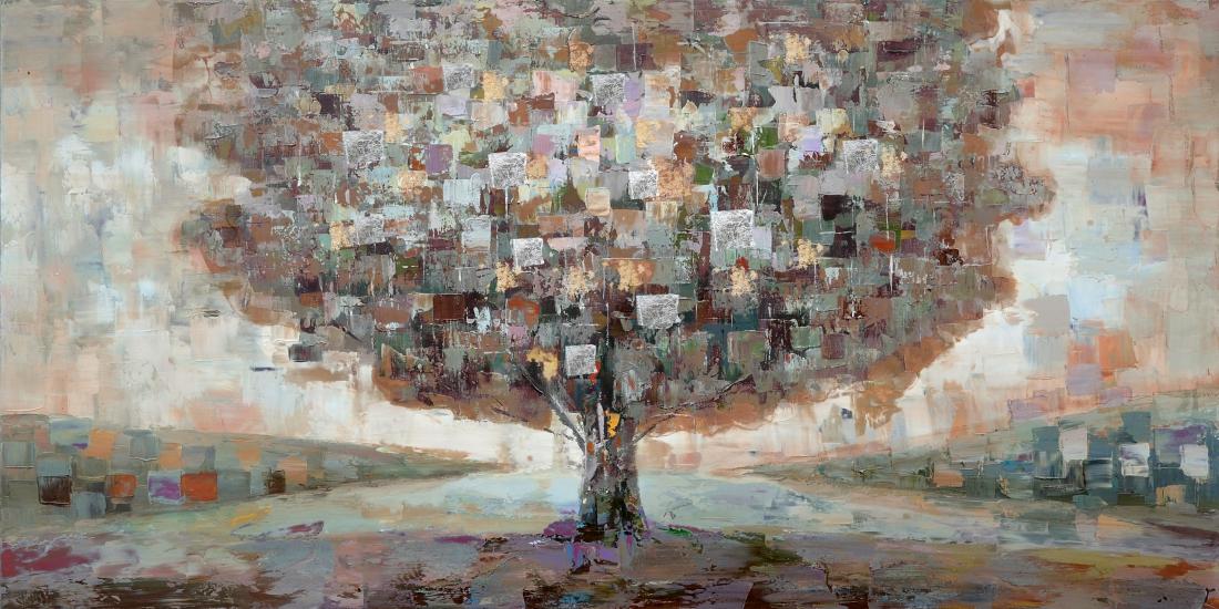 Schilderij boom 60x120