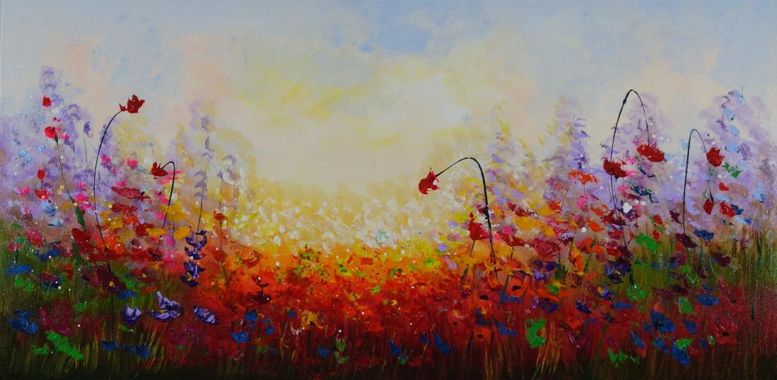 Schilderij bloemenveld met zonsondergang 70x140