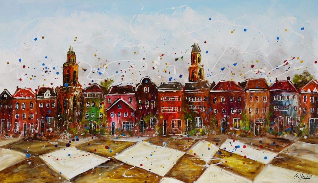 Schilderij modern stadsgezicht 70x120