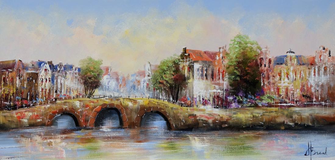 Schilderij stadsgezicht haven 60x120