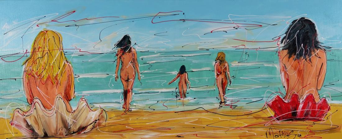 Schilderij strand 50x120