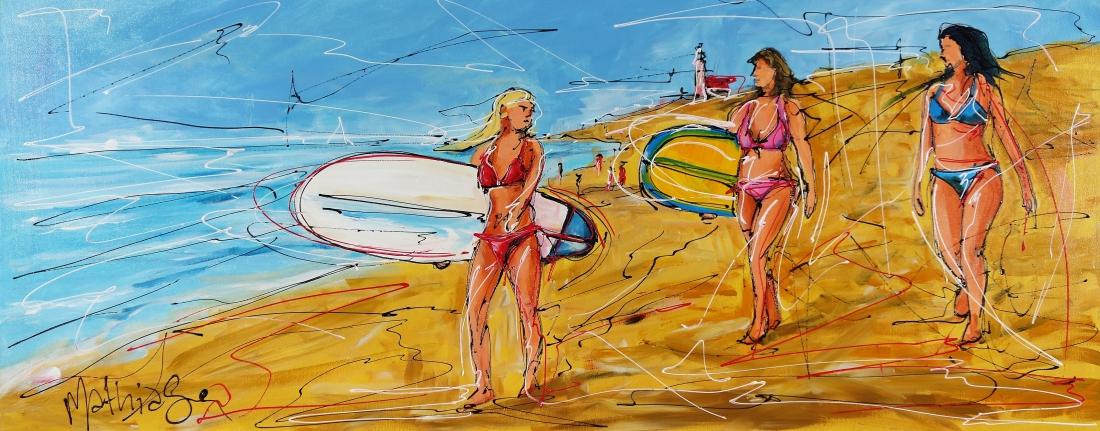 Schilderij surfen 50x120
