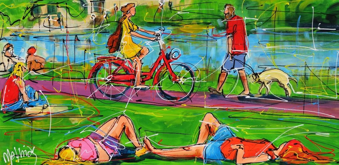Schilderij in het park 40x80