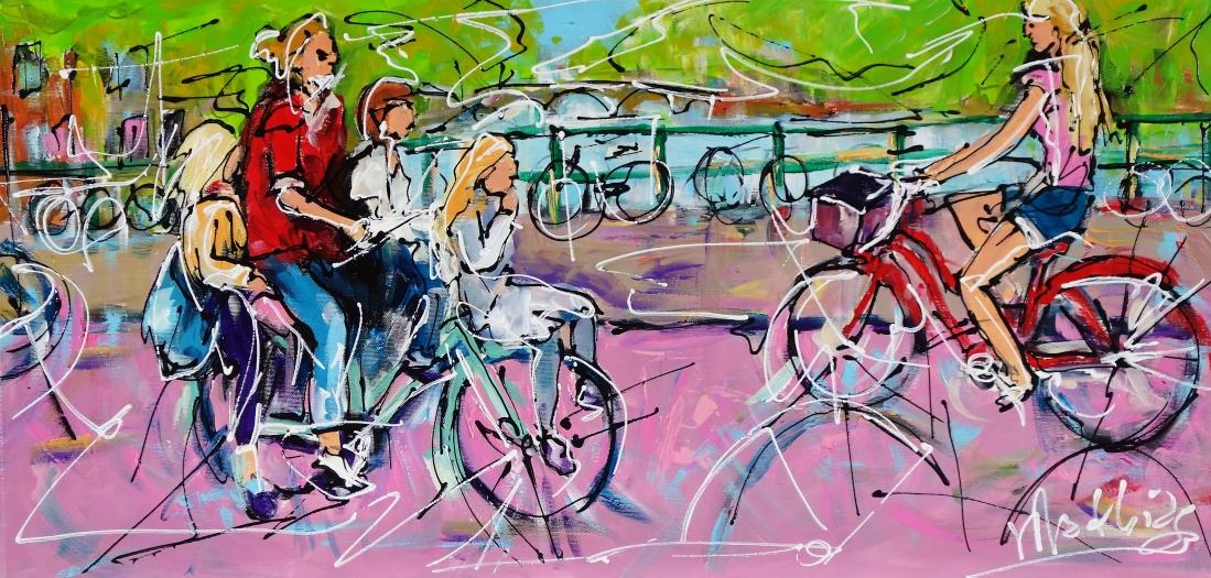 Schilderij fietsers 40x80