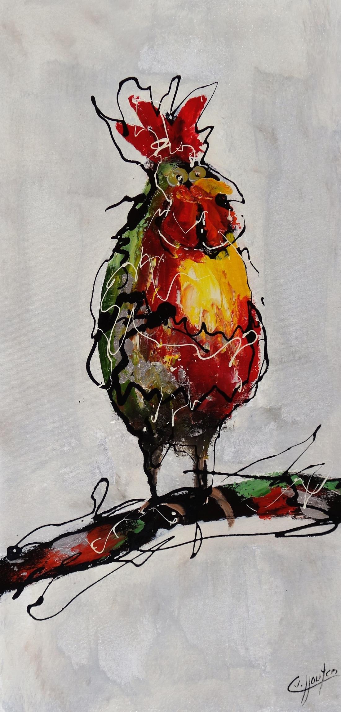 Schilderij moderne kippen 40x80