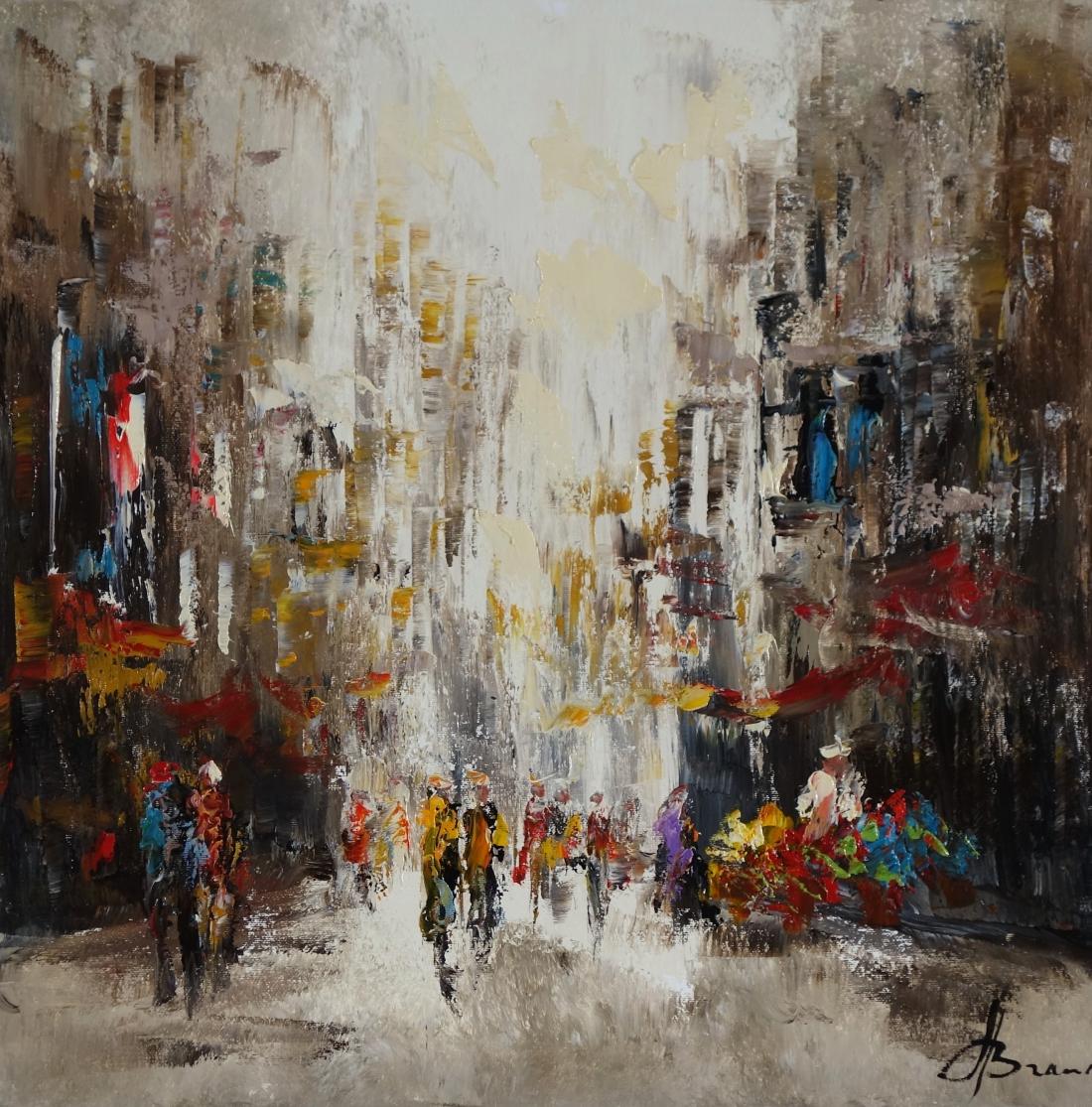 Schilderij modern stadsgezicht 50x50
