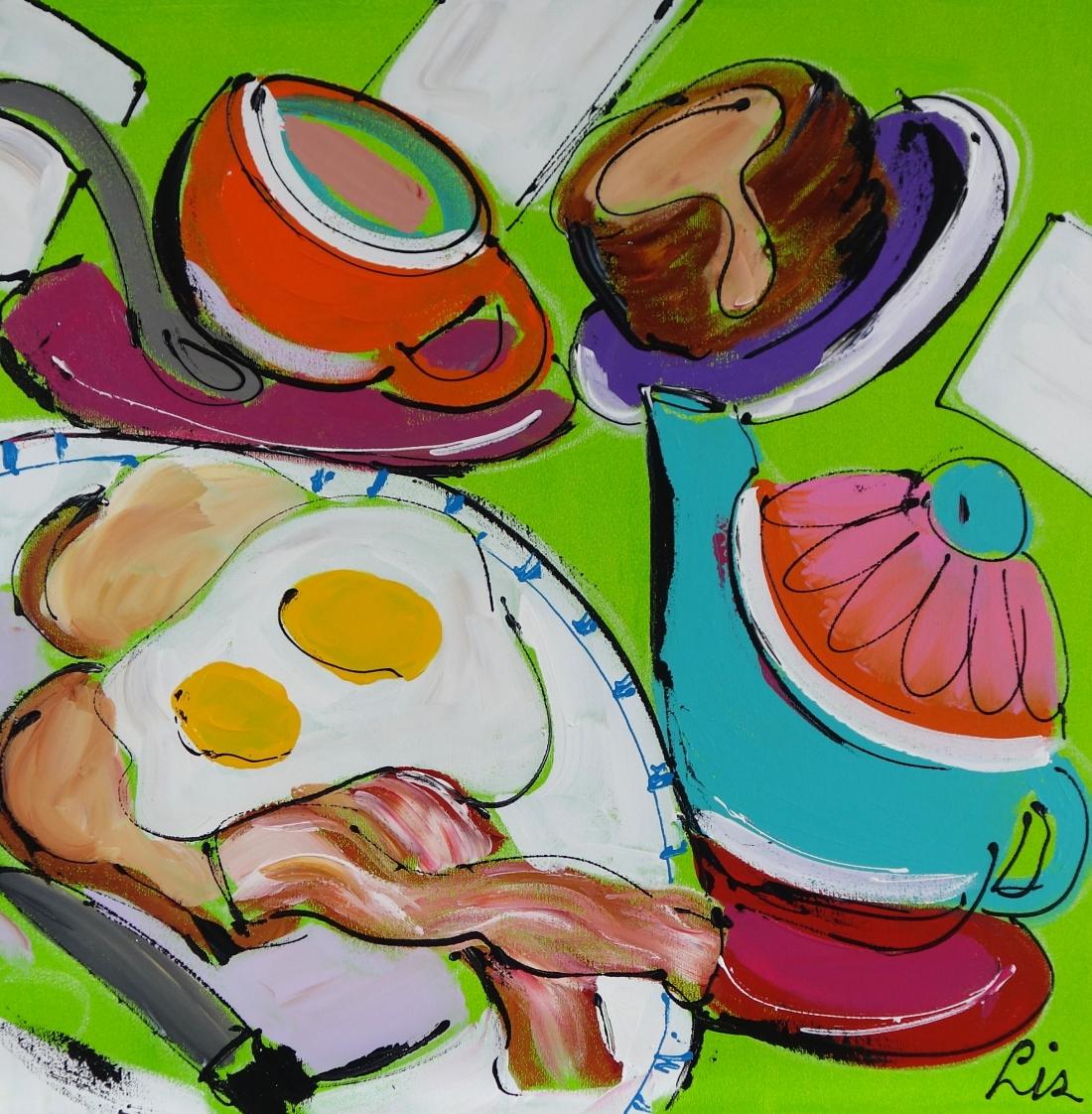 Schilderij ontbijt 60x60