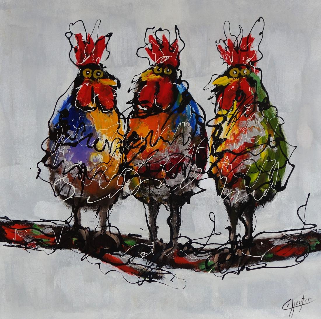 Schilderij kippen op stok 80x80