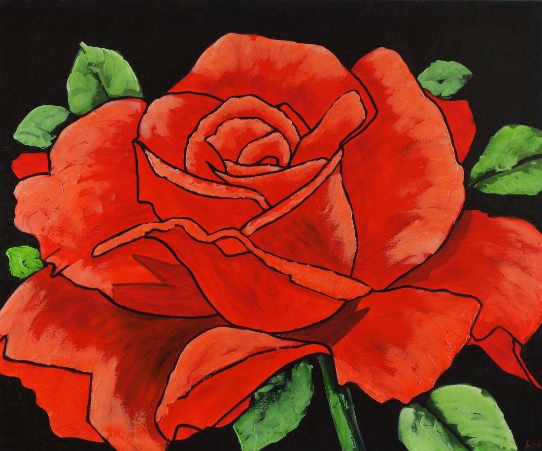 Schilderij roos 90x120