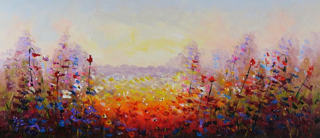 Schilderij modern bloemenveld 70x160