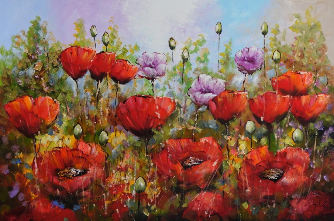 Schilderij klaprozenveld 100x150