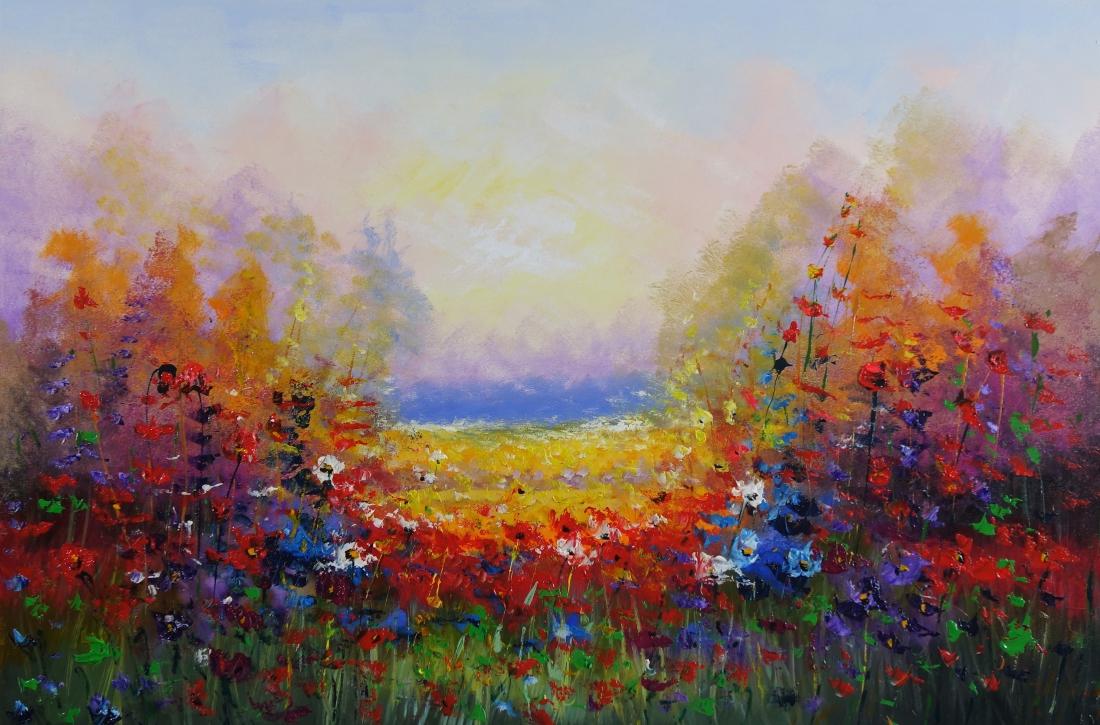 Schilderij modern bloemenveld 100x150